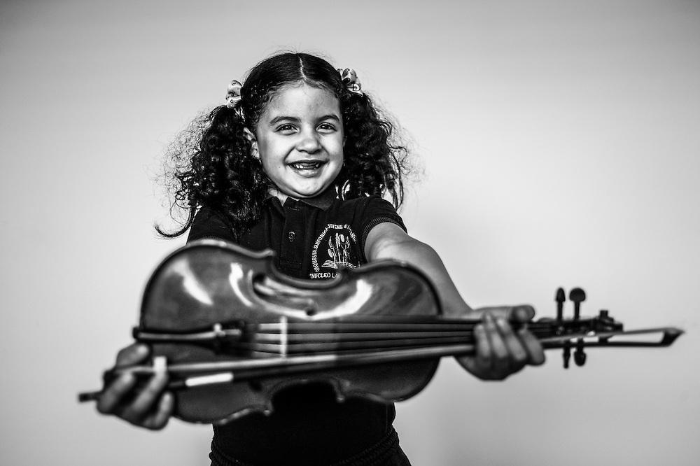 An El Sistema music student poses for a portrait at the La Rinconada nucleo in Caracas, Venezuela.