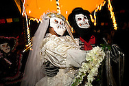 Dia de Los Muertos Bride and Groom at Olvera Street, Los Angeles, California