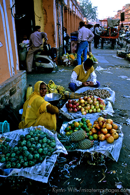 Asia, India, Jaipur. Street market vendor pf produce in jaipur.