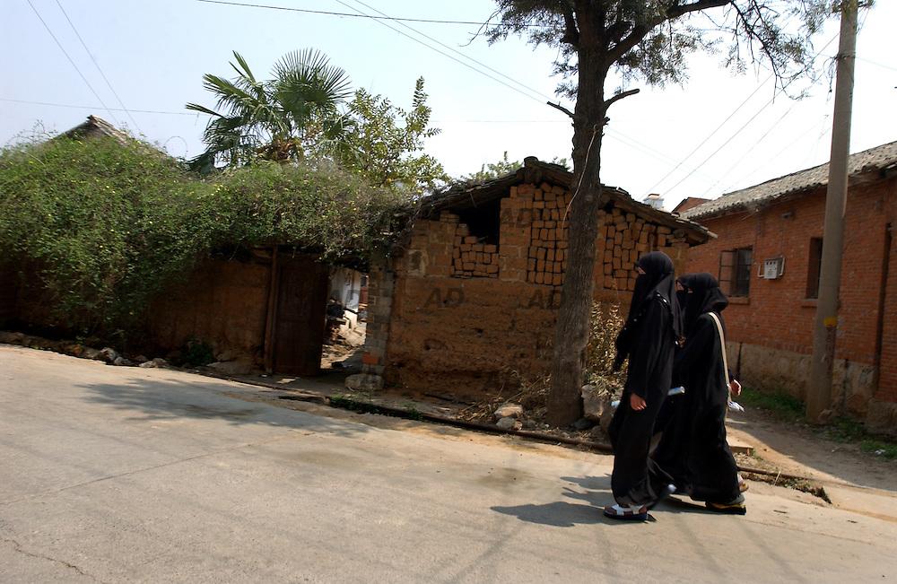 Vailed women walk in the street.