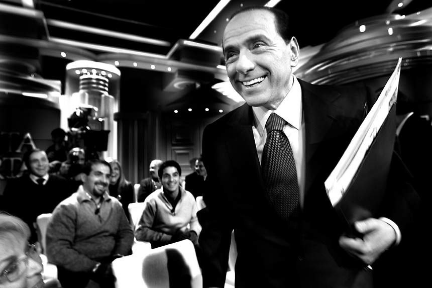 """Italian Prime Minister Silvio Berlusconi arrives at the italian """"RAI"""" broadcast studios to join a politic talk show.The italian politics leader made his first TV appereance after 8 months, to draw a balance of his five years government and to welcome the resignation of Bank of Italy Governor Antonio Fazio."""