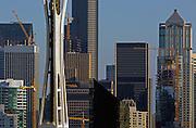 Cranes dot buildings along the Seattle skyline alongside the space needle. (Ellen M. Banner / The Seattle Times)