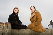 Actors Jenna Russell and Simon Paisley Day photographed on the beach at Whitstable, Kent