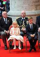 BRUSSELS, BELGIUM: Prince Emmanuel, Princess Eleonore, Prince Gabriel, Crown Princess Elisabeth, Queen Mathilde of Belgium and King Philippe - Filip of Belgium pictured after the Te Deum mass, on the occasion of today's Belgian National Day, at the Saint Michael and St Gudula Cathedral (Cathedrale des Saints Michel et Gudule / Sint-Michiels- en Sint-Goedele kathedraal) COPYRIGHT ROBIN UTRECHT