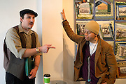 Windsor, Canada, 2014. Ian Clough, in costume, speaks with Terrence Travis aka Tea Jai of Bloomsfield House prior to the Mayworks Windsor 2014 press conference at Artcite Inc. Clough is a member of the May Day organizing committee that is planning a novel approach to the annual event.