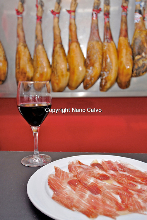 Spanish Jamon Serrano or Ham in a restaurant, Spain
