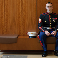 April 5, 2013 - SSgt. Jacob Macomber '14, a student in Business Administration and recipient of The Lt. Col. James F. Sheehan '55 USMC Retired Award. The scholarship is given to the highest ranking member of each class that has maintained their full-time student status and has completed their course work at Worcester State University. (MATT WRIGHT for Worcester State University)