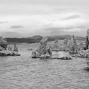 Mono Lake Tufa And Volcanic Dome - Incoming Storm - Black & White