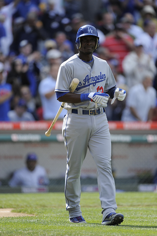 CHICAGO - MAY 29:  Orlando Hudson #13 of the Los Angeles Dodgers reacts after striking out against the Chicago Cubs on May 29, 2009 at Wrigley Field in Chicago, Illinois.  The Cubs defeated the Dodgers 2-1.  (Photo by Ron Vesely)