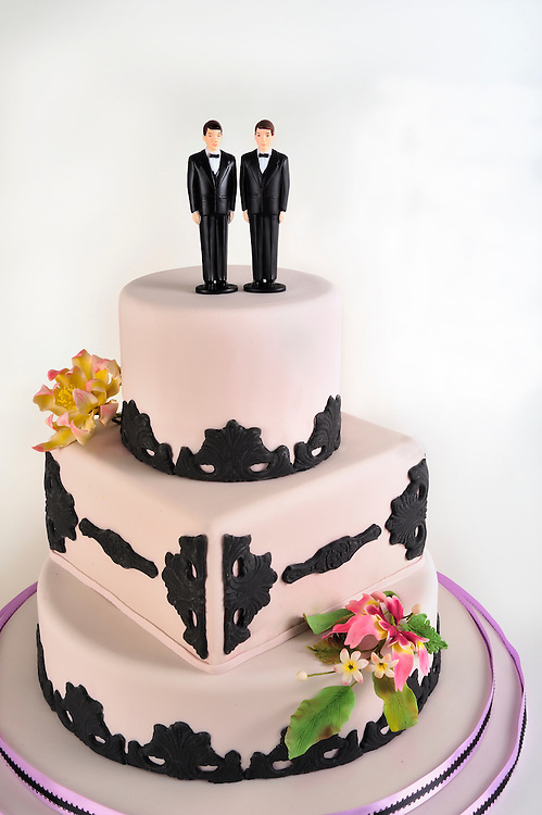 Gay Marriage Two Grooms on Wedding Cake Marianne Campolongo