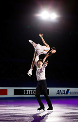 Pairs bronze medalists Pang Qing and Tong Jian of China perform during an exhibition program at the ISU World Figure Skating Championships at Shanghai Oriental Sports Center in Shanghai, China, 29 March 2015.