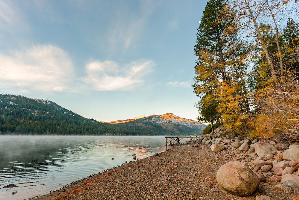 """""""Donner Lake Morning 17"""" - Photograph of Donner Lake and some fall colored trees shot early in the morning."""