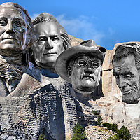 Mount Rushmore in Black Hills, South Dakota Composite of Five Photos<br /> Five photos of Black Hills, South Dakota are: The granite of Mount Rushmore in the Black Hills with the superimposed faces of Presidents Washington, Jefferson, Roosevelt and Lincoln. These are photos from the life-size bronze statues of every U.S. president on 12 street intersections in downtown Rapid City. It is known as the &ldquo;City of Presidents.&rdquo;