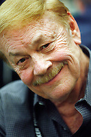 3 March 2007: Professional sports team NBA owner Dr. Jerry Buss playing a poker hand in action with a smile on his face during the fifth annual WPT Invitational at the Commerce Casino in Los Angeles, CA.