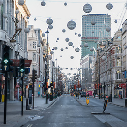 London, UK - 25 December 2014: Oxford Street in London on early Christmas morning.