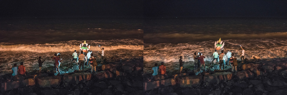 (L): Family prepares to throw their Lord Ganesha statue into the sea and symbolically back to nature.  Pondicherry, India.<br /> <br /> (R): Family throws their Lord Ganesha statue into the sea and symbolically back to nature.  Pondicherry, India.