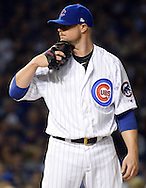 CHICAGO, IL - OCTOBER 15:  Jon Lester #34 of the Chicago Cubs looks on during Game 1 of NLCS against the Los Angeles Dodgers at Wrigley Field on Saturday, October 15, 2016 in Chicago, Illinois. (Photo by Ron Vesely/MLB Photos via Getty Images)  *** Local Caption *** Jon Lester