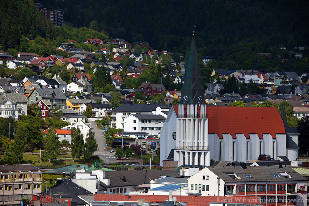 Europe, Norway, Molde. Molde cathedral and free-standing belltower.