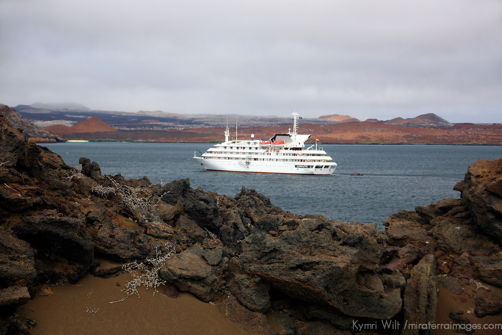 The MV Galapagos Explorer II anchored off Bartholomew Island in the Galapagos. Ecuador, South America.