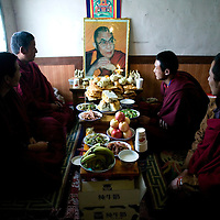 QINGHAI, March 9 , 2009: Tibetan monks tacitly commemorate  the Dalai Lama. &quot; We pray for his holiness &quot;.<br /> 50 years ago, on March 10, the Dalai Lama fled China.