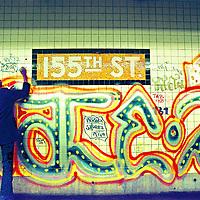 Kid drawing on wall - 155th Street Subway station platform
