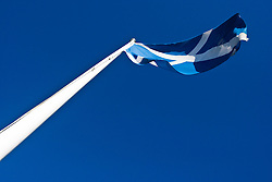 Scottish flag on a flagpole at the Falkirk Wheel..Pic ©2010 Michael Schofield. All Rights Reserved.