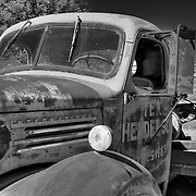 Rusted Vintage Tex Henderson International Truck - Motor Transport Museum - Campo, CA - Black & White