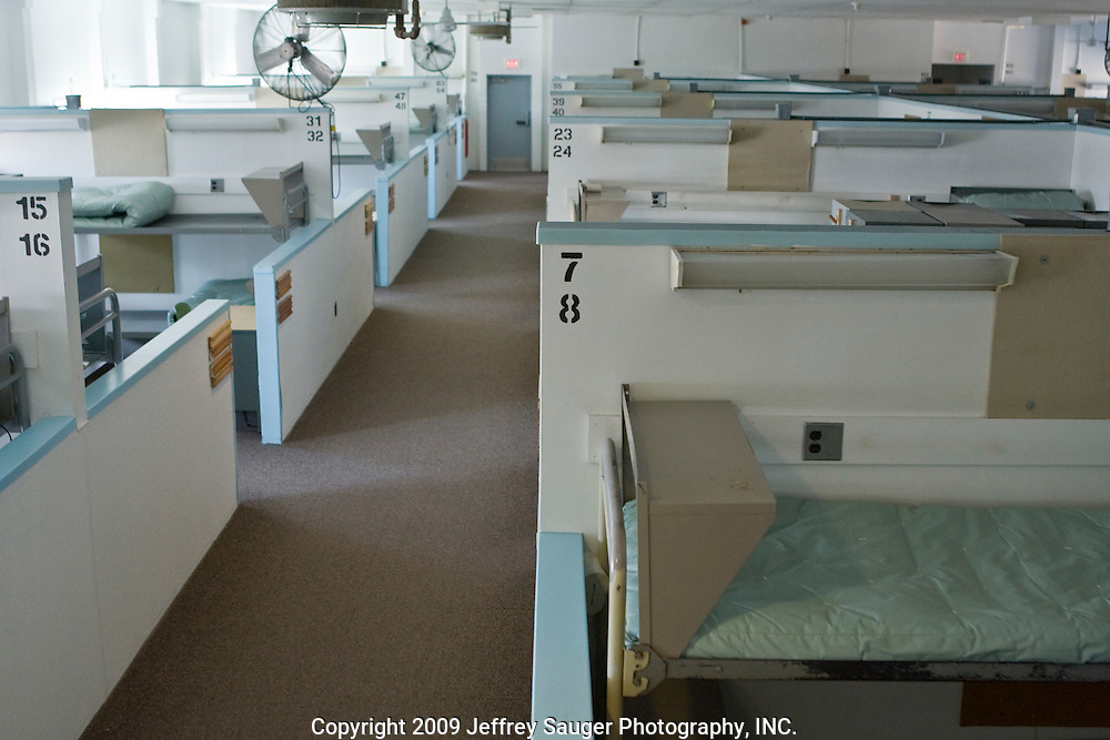 Deerfield Correctional Facility's Housing Unit A after the last 33 of 1,200 prisoners were transported out of the closing prison in Ionia, MI, Friday, March 20, 2009. Each bay area was originally designed to sleep four prisoners, but, actually housed seven. All employees have been absorbed into the four other prisons in the town. The prisoners were transferred to West Shoreline Correctional Facility in Muskegon, MI.