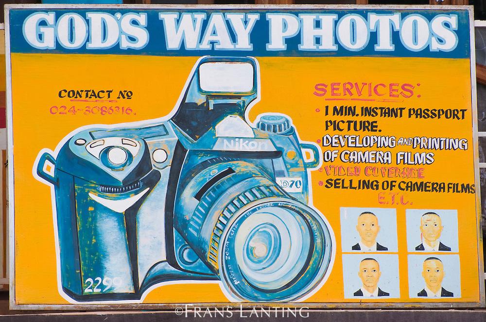 Roadside sign for photo studio, Ghana