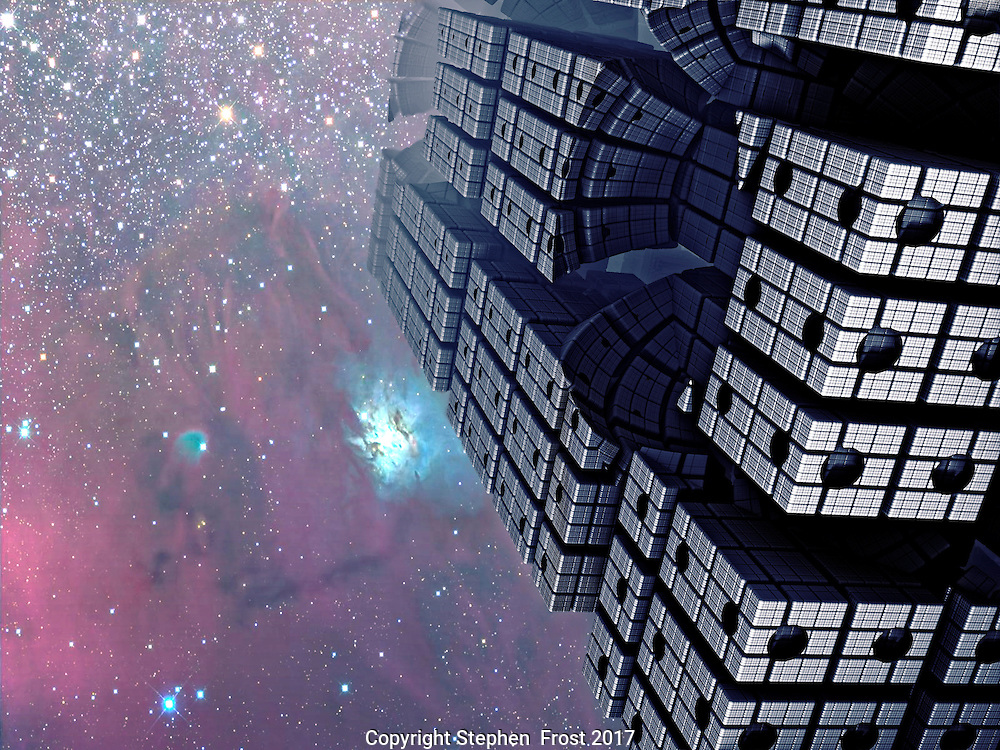 Fractal Tower with Cosmic Sky.<br /> <br /> Digital image of a futuristic skyscraper produced by fractals.