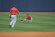 Ole Miss' Will Jamison (4) is unable to catch a fly ball  vs. Lipscomb at Oxford-University Stadium in Oxford, Miss. on Sunday, March 10, 2013. Ole Miss won 9-8. The Rebels improve to 16-1.