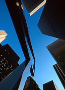 USA NEW YORK CITY NOV97 - A scuplture in front of the Rockefeller Centre in midtown Manhattan points skywards. Photography by Jiri Rezac<br /> Tel 0044 07947 884 517<br /> www.linkphotographers.com