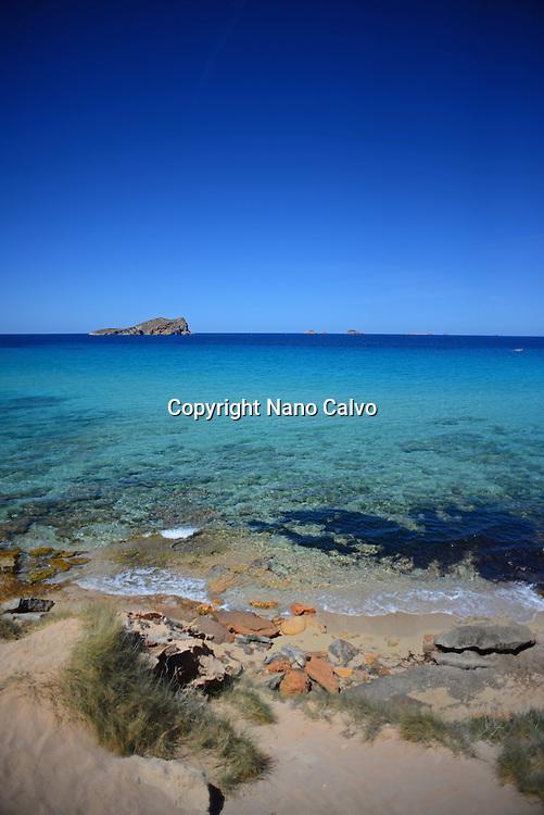 Cala Conta beach (Platges de Comte and Cala Compte) in Ibiza, Balearic Islands, Spain