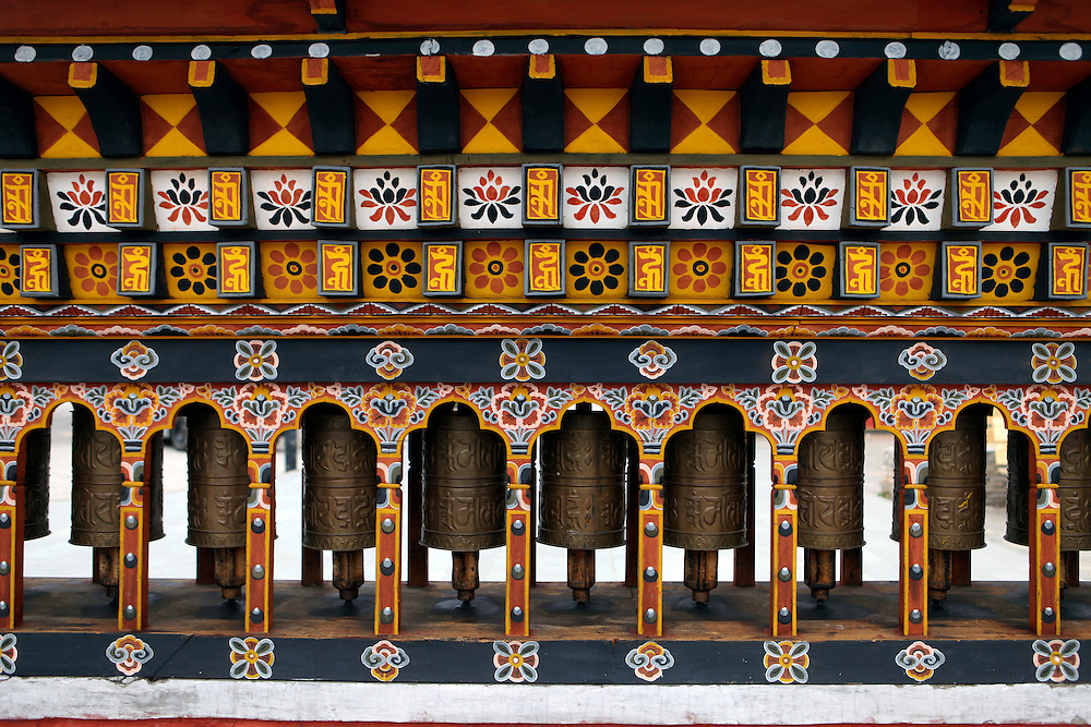 Asia, Bhutan, Thimpu. Prayer wheels in a local public square in central Thimpu, Bhutan.