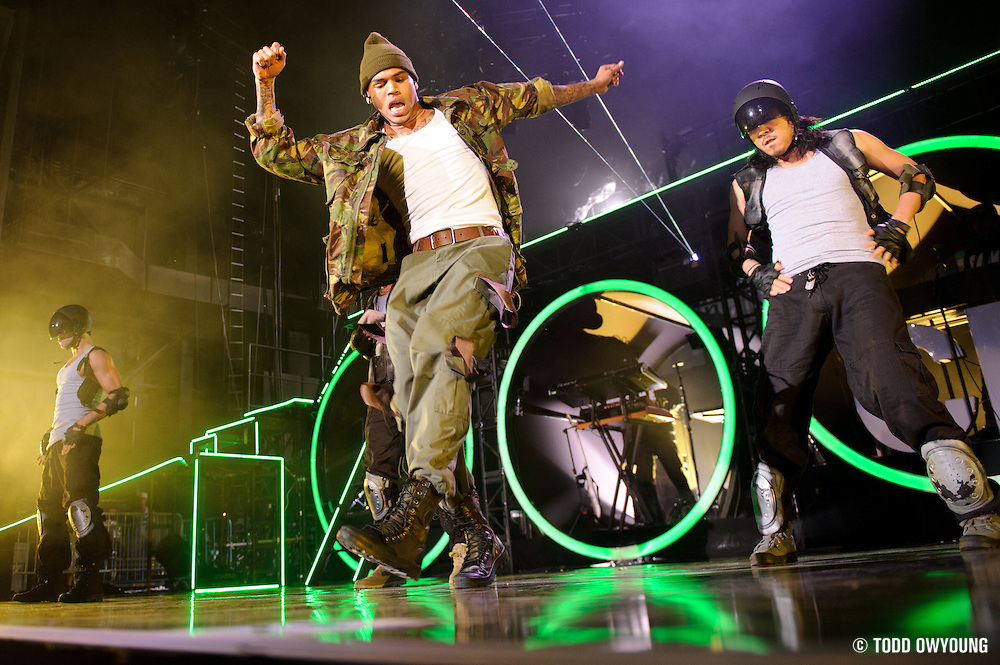 Chris Brown performing on the FAME Tour 2011 at the Verizon Wireless Amphitheater in St. Louis, MO on September 24, 2011.