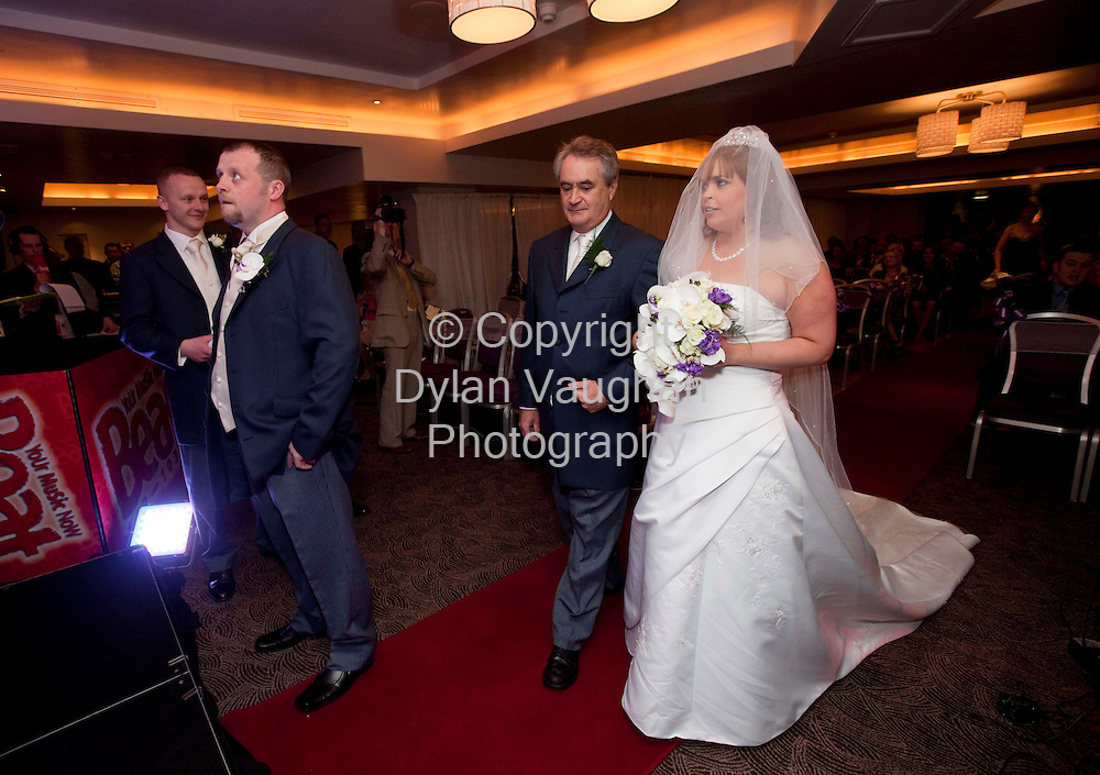 6/4/2009.Pictured yesterday meeting for the first time at the Beat 102-103 social experiment ' 2 Strangers at a Wedding' at Hotel Kilkenny in Kilkenny was the bride and groom 25 year old Bebhinn O' Keeffe from Treamore County Waterford and 31 year old Alan Healy from Glenmore County Kilkenny. Also in the picture is Bebhinn's dad Finn..The couple were matched based on their personalities and never met face to face during their on-air courtship..Picture Dylan Vaughan.