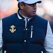 Navy Head Coach Ken Niumatalolo walking the sideline in the first quarter of the 112th version Of this storied rivalry Saturday, Dec. 10, 2011 at Fed EX field in Landover Md.<br /> <br /> Navy set the tone early in the game as Navy defeats Army 31-17 in front of 82,000 at Fed EX Field in Landover Md