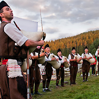 Bulgarian folk musicians, playing traditional songs of the Beglika region