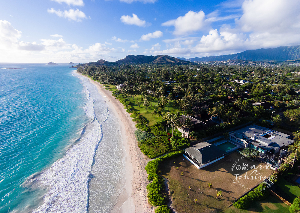 Aerial view of Kailua Beach, Oahu, Hawaii