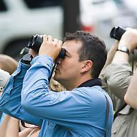 Birdwatchers, Willy Alfaro, with binoculars, La Selva Biological Reserve, Costa Rica.