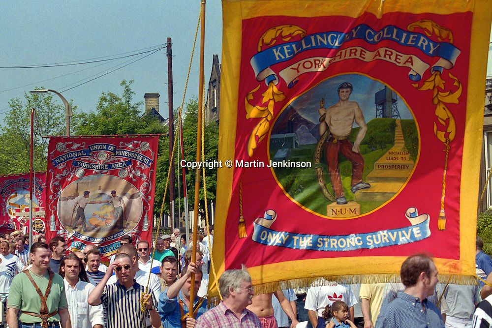 Kellingley Colliery and Prince of Wales banners, Yorkshire Miners Gala Barnsley 16/6//96