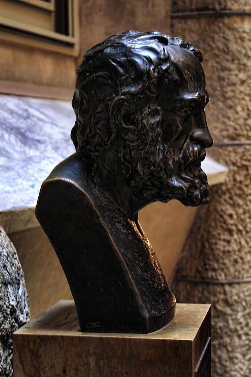Bust of Antoni Gaudi in the lobby of La Pedrera, Barcelona.
