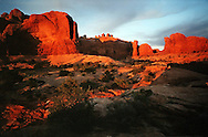Sunset in Arches National Park near Moab, Utah.