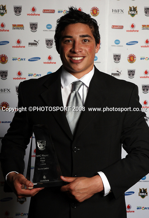 Elijah Taylor. Vodafone Warrior's annual awards, Sky City Convention Centre, Auckland. 16 September 2008. Photo: Andrew Cornaga/PHOTOSPORT