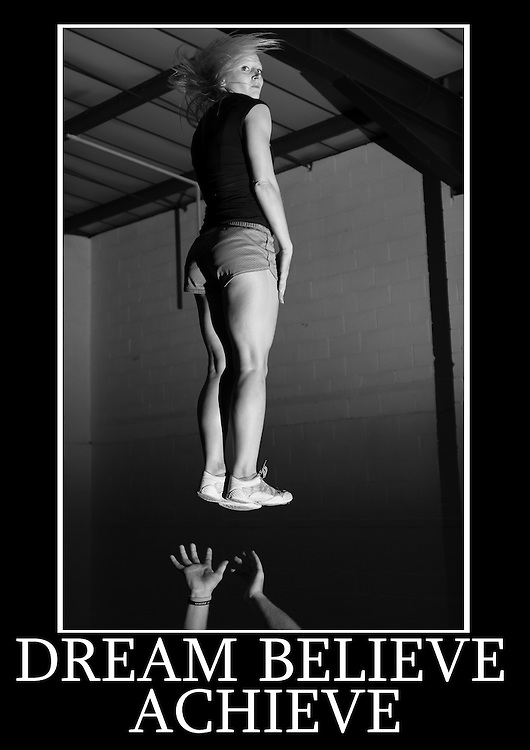 Motivational cheerleading poster of a single based partner stunt full around with a phrase that reads Dream Believe Achieve.<br /> Measures 33 x 23.5 inches/A1     &pound;12.50