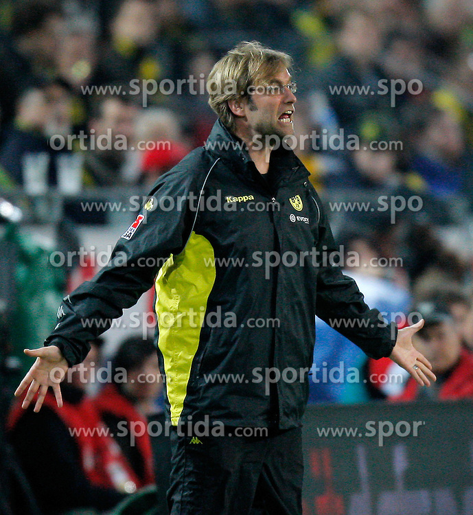 20.03.2010, Signal Iduna Park, Dortmund, GER, 1.FBL, Borrussia Dortmund vs Bayer 04 Leverkusen, im Bild   Dortmunds Trainer Jürgen / Juergen Klopp (GER) wütend  EXPA Pictures © 2010, PhotoCredit: EXPA/ nph/  Scholz / SPORTIDA PHOTO AGENCY