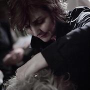 10/23/11 Philadelphia PA: Guest Hairstylist Nadine Manne from RICHARD NICHOLAS studios in Philadelphia working during TEASE exhibition Sunday, Oct. 23, 2011 at National Mechanics in Philadelphia Pennsylvania.<br /> <br /> Monsterphoto/SAQUAN STIMPSON