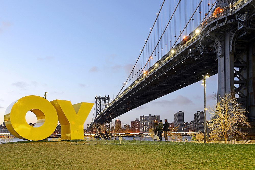 """""""OY"""" and nice view from Brooklyn to Manhattan."""