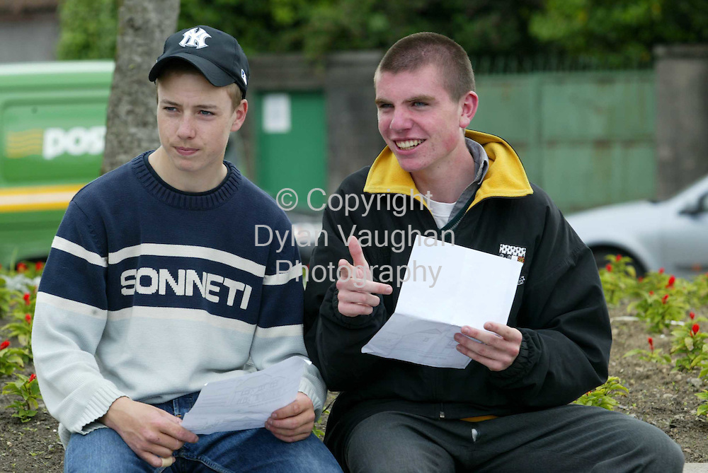 16/6/2003.Irish Examiner .Willie Hoyne and Decky Kennedy from Loughboy in Kilkenny pictured after doing the Junior Cert in Materials Technology wood at Kilkenny City Vocational School..Picture Dylan Vaughan