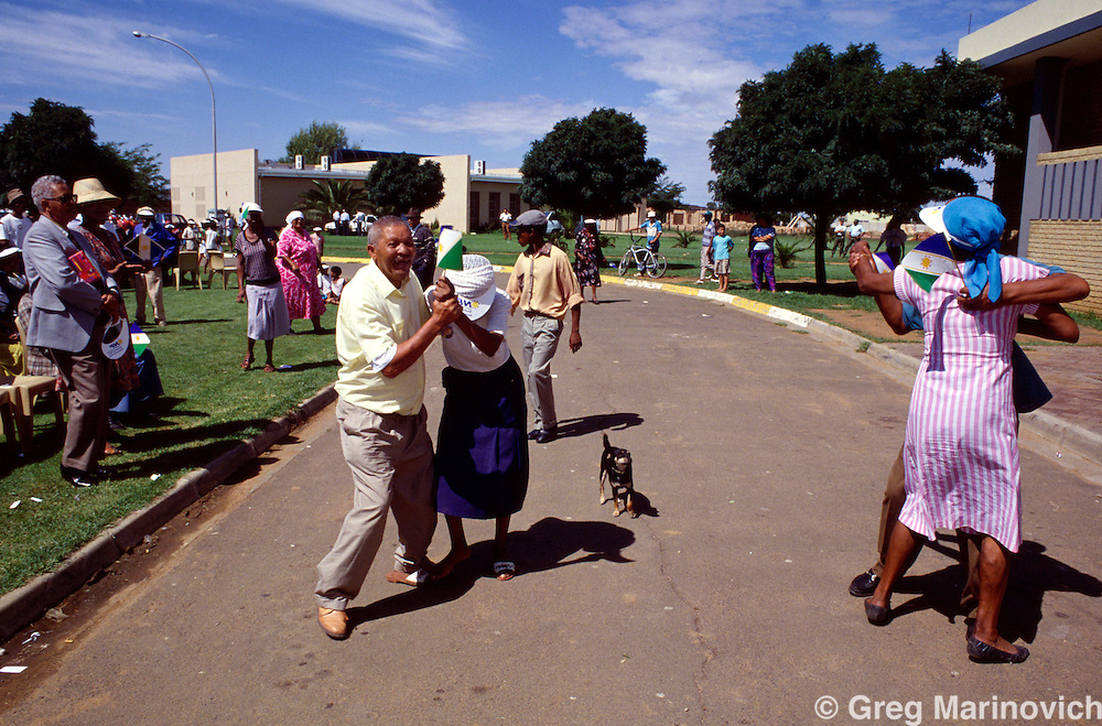 National Party supporters dance at  arally attended by FW de Klerk, South Africa 21 March 1994